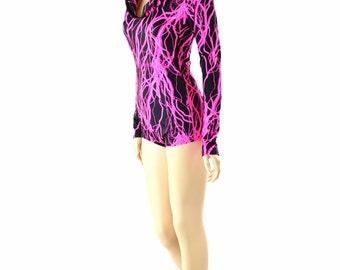 Neon UV Glow Pink Lightning Print Long Sleeve Hoodie Romper with Pink Lightning Hood Lining  152327