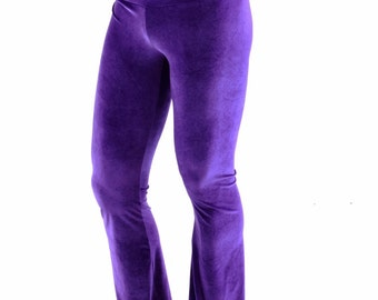 Mens Purple Stretch Velvet Bootcut  Pants Rockstar Rave Festival Yoga Leggings Disco -152371
