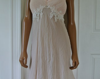 Chiffon Nightgown Pink Origami Pleating Bust Romantic Nighty by Willow Blossom /M