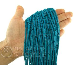 Hand Cut Afghan Beads 4mm Teal Heishi Bead Strands Howlite Seed Beads One 1 Full Strand Semiprecious Gemstone Beads, Loose Beads