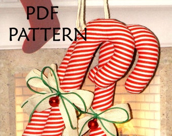 PDF Pattern. Christmas Ornament Sewing Pattern. Candy Cane Pattern. Three Sizes Pattern. Instant Download. Digital PDF Files.