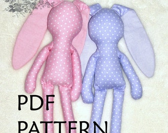 PDF Pattern. Bunny Pattern. Sewing Pattern ONLY.  Polka dots Bunny Pattern. Soft toy Pattern. Cloth toy Pattern. Plush toy Pattern.