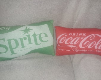 coca cola / sprite t shirt pillow