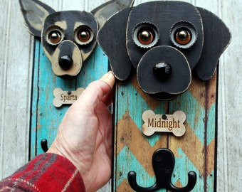 Custom Dog leash holder, Handmade Leash Holder with your dog or puppy, One of a kind created for you.