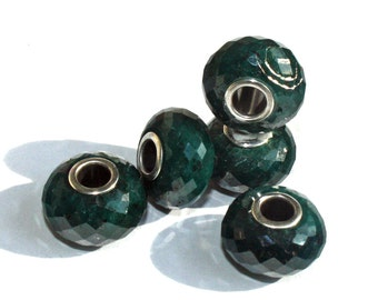 Sale % Faceted Gemstone Bead Charms Emerald