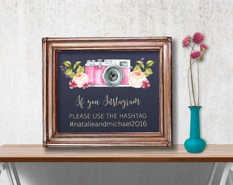 Printable Wedding Hashtag Sign, Wedding Instagram Sign, Floral Instagram Sign, Printable Hashtag Sign, Printable Instagram Sign, Digital