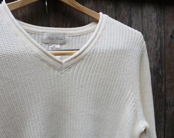 Knit Cream V-Neck Sweater