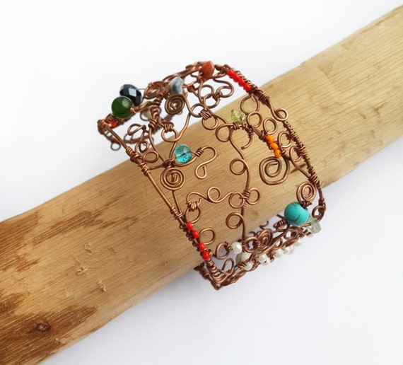 Items similar to copper wire cuff bracelet