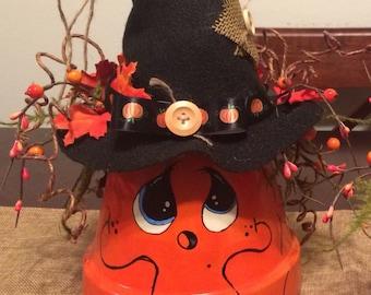 Terra Cotta Clay Pot Pumpkin