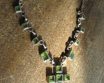Green Citrine Square Cut Stones with Sterling Silver Setting and chain necklace