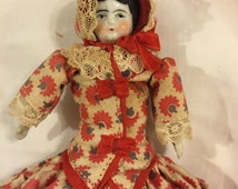 """Lovely Antique china doll/6"""" tall beautiful antique outfit"""