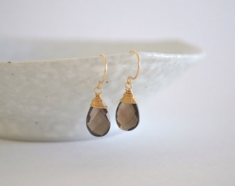 Smoky Quartz Drop Earrings, Gold Filled