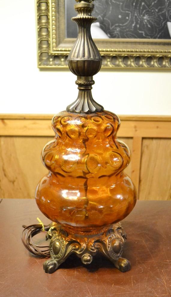 Vintage Amber Glass And Metal Table Lamp Retro Lighting