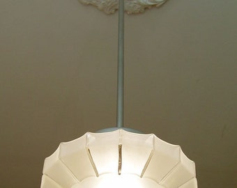 Art Deco antique ceiling lamp glass + chrome orig. around 1930