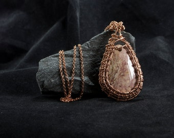 Wire wrapping pendant with jaspe - Copper Jewelry - Copper and stone necklace - Wire wrapping jewelry