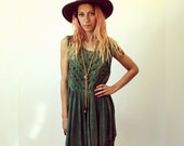 Sage Dress // vintage 80s boho sun midi hippie cotton gypsy embroidered ethnic hipster Indian green 1980s hippy babydoll baby doll 90s S/M