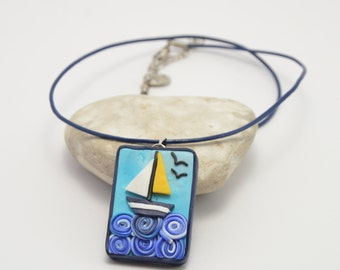 Sailboat in the sea, polymer clay necklace, art necklace, clay necklace, polymer clay jewelry, art jewelry, clay jewellery, clay jewelry