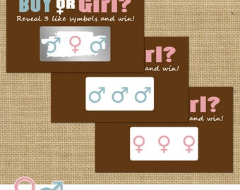 Baby Gender Reveal Scratch off Tickets - Chocolate, Pink and Blue