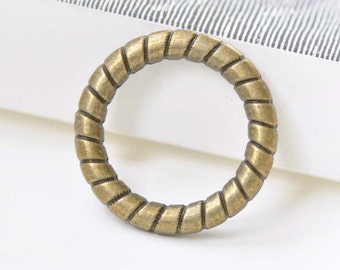 Antique Bronze Thick Coil Loop Circle Rings  26mm Set of 10 A8438