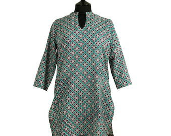 Long Kurta Top – All sizes – Style 1 - Deep turquoise with plum red - 100% lightweight cotton