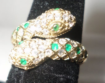 Stunning Silver Emerald Topaz Snake Ring Adjustable Size********