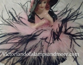 Powder Puff NEW  Porcelain Doll with NEW Marabou and  OSTRICH Boa in pink and black
