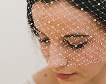 Crystal birdcage veil - DIVA | Bandeau birdcage veil, Blusher veil, Ivory birdcage veil, Crystal veil, Short veil, Bandeau veil