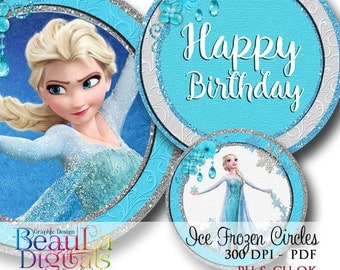 Frozen Elsa Ice Princess Cupcake Circles - Stickers -Tags - Labels - Cupcake Toppers - Instant Download