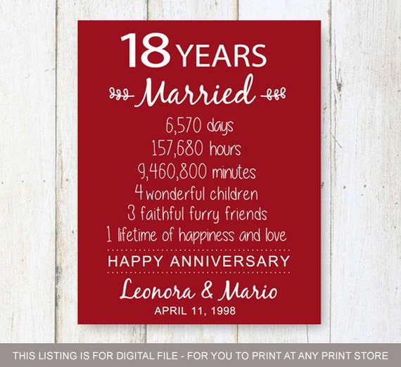 Gifts For 18th Wedding Anniversary: 18th Anniversary Gift 18 Years Of Mariage Wedding