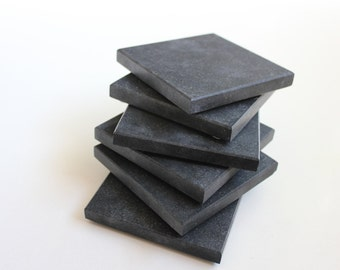 Stone Coasters Set Of Six From Natural Stone Brushed Granite Nero Black