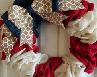 SALE SALE Patriotic Wreath Front Door Wreath // 4th of July Wreath // Red, White & Blue Wreath // Memorial Day Wreath // Summer Wreath