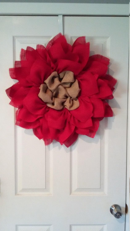 how to make burlap poinsettia wreath