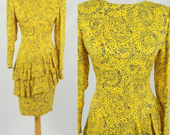 1980s Vintage Bright Yellow & Blue Entente Tiered Ladies Silk Dress Size S