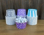48 Silver, Lilac, and Light Blue Stripe and Polka Dot Candy/Nut Cups- Frozen Themed Party- Birthday, Baby Shower Supply, Baking Cups