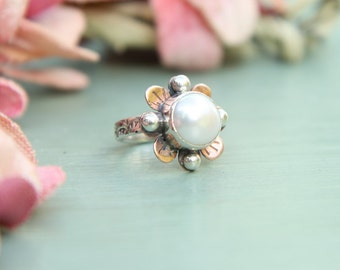 Freswater Pearl, Copper & Sterling Silver