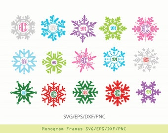 INSTANT DOWNLOAD SVG xmas snowflake vectors for cutting machines: svg, png, dxf, eps -monograms not incl.