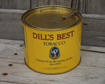 Vintage Dill's Best Pipe Smoking Tobacco Advertising Tin