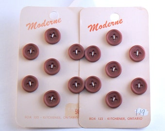 14 - 12 mm  Plastic Brown Buttons - Small Brown Buttons - Sewing Buttons - Brown Vintage Buttons - Button Cards #BNF-09-35