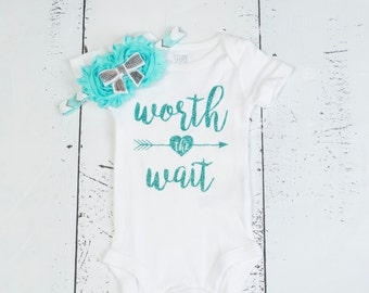WORTH THE WAIT Bodysuit, Newborn Baby Girl, Baby Girl Clothes, Baby Coming Home Outfit, Baby Name Bodysuit, Take Home Outfit, Aqua Bodysuit