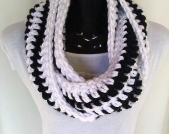 White and Black Crochet Infinity Scarf - Ready to Ship