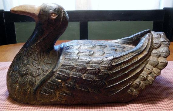 """Vintage Austin Prod. Inc. 1981 Primitive Duck Decoy Sculpture Artist Signed 14"""""""