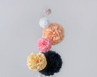 Fabric Pom Pom, Nursery Mobile, Nursery Decor, Baby Girl Nursery, Custom Nursery, Pom Pom Mobile, DIY Mobile, Custom Mobile, Girl Nursery