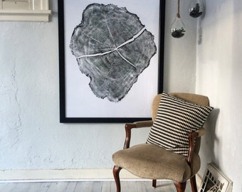 Oversized Wall Art, Tree Ring Art Print,  HUGE Locust Tree Ring Print, 36x48 inches. Real Tree Stump Art, Gift for him, Fathers day