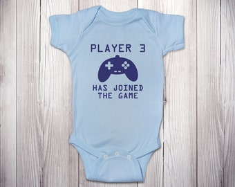 Gifts for Gamers Player 3 Has Joined the Game ONESIES ® Brand Bodysuits Baby Bodysuit or T-Shirt Newborn Coming Home Outfit Baby Shower Gift