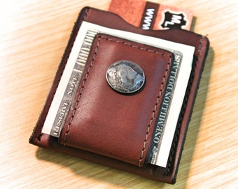 Buffalo Nickel money clip wallet,   personalized wallet, monogrammed wallet,  Initials Engraved Free