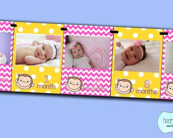 Pink Curious George First Year Photo Banner / 12 Month Picture Banner - Girl Curious George First Birthday -Print-Your-Own FILE to PRINT DIY