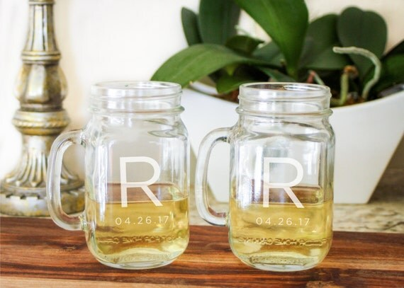 2 Monogrammed Drinking Jars, Custom Mason Glass, Engraved Drinking Jar: Shabby Chic Wedding, Country Wedding - One Glass