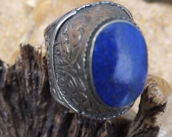 Turkmen silver  and Lapis Lazuli Turkmen Ring....... size 7.5 only