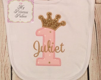 Personalized Princess Crown 1st Birthday Bib **SALE**