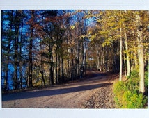 Vermont autumn, country dirt road, photo notecard, fall foliage, blank greeting card, New England, fall birthday card, yellow tree leaves